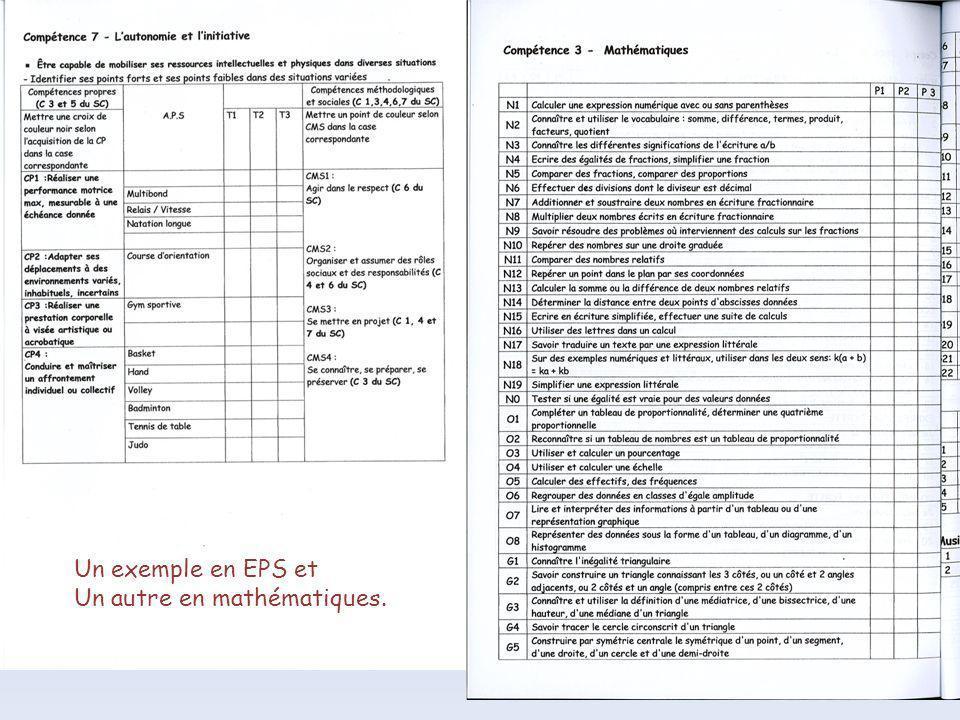 Un exemple en EPS et Un autre en mathématiques.