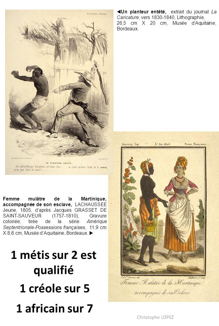 Femme mulâtre de la Martinique, accompagnée de son esclave, LACHAUSSEE Jeune, 1805, daprès Jacques GRASSET DE SAINT-SAUVEUR (1757-1810), Gravure coloriée, tirée de la série Amérique Septentrionale-Possessions françaises, 11,9 cm X 8,6 cm, Musée dAquitaine, Bordeaux.
