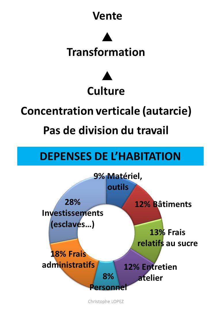 Culture Transformation Vente Pas de division du travail Concentration verticale (autarcie) DEPENSES DE LHABITATION 9% Matériel, outils 12% Bâtiments 13% Frais relatifs au sucre 12% Entretien atelier 28% Investissements (esclaves…)