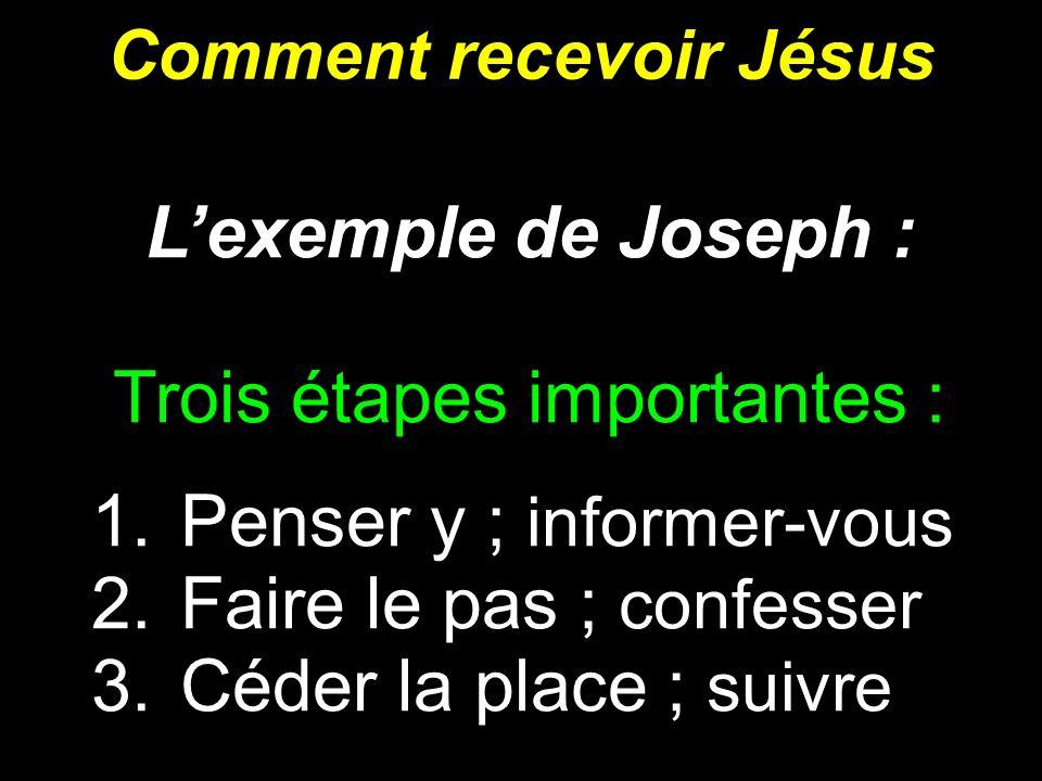 Comment recevoir Jésus Lexemple de Joseph : Trois étapes importantes : 1. Penser y ; informer-vous 2. Faire le pas ; confesser 3. Céder la place ; sui