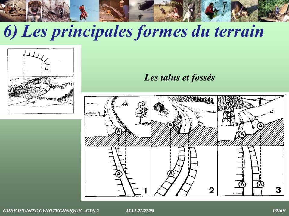 Les talus et fossés 6) Les principales formes du terrain CHEF DUNITE CYNOTECHNIQUE – CYN 2 MAJ 01/07/08 19/69