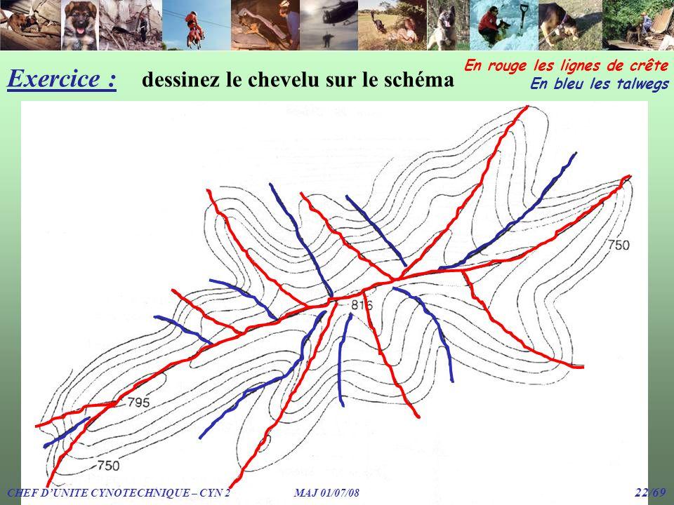 Exercice : dessinez le chevelu sur le schéma En rouge les lignes de crête En bleu les talwegs CHEF DUNITE CYNOTECHNIQUE – CYN 2 MAJ 01/07/08 22/69