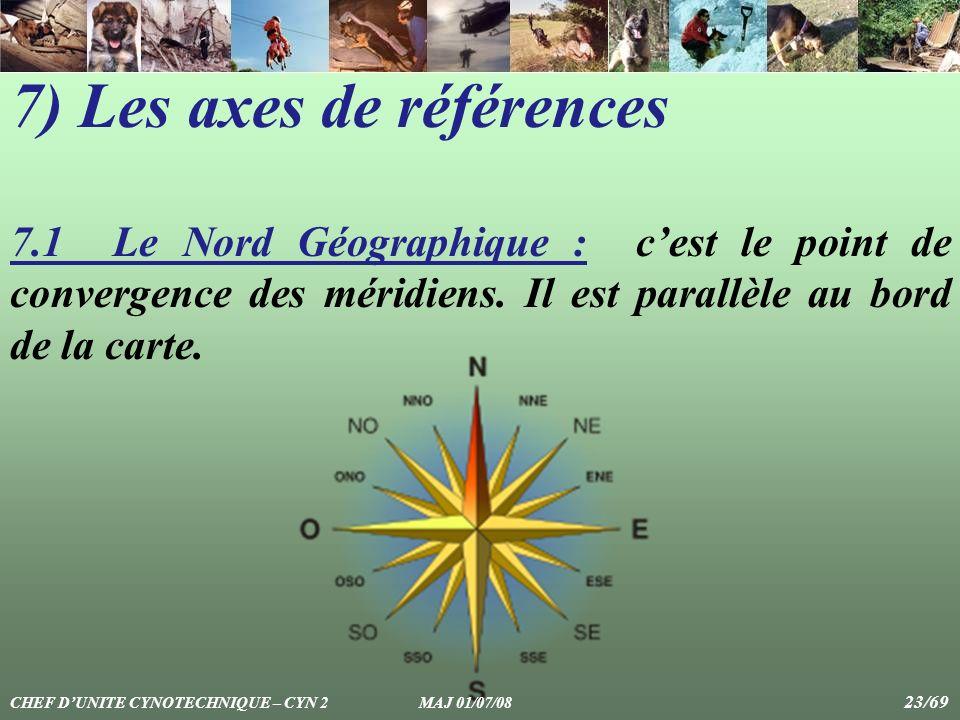 7) Les axes de références 7.1 Le Nord Géographique : cest le point de convergence des méridiens. Il est parallèle au bord de la carte. CHEF DUNITE CYN