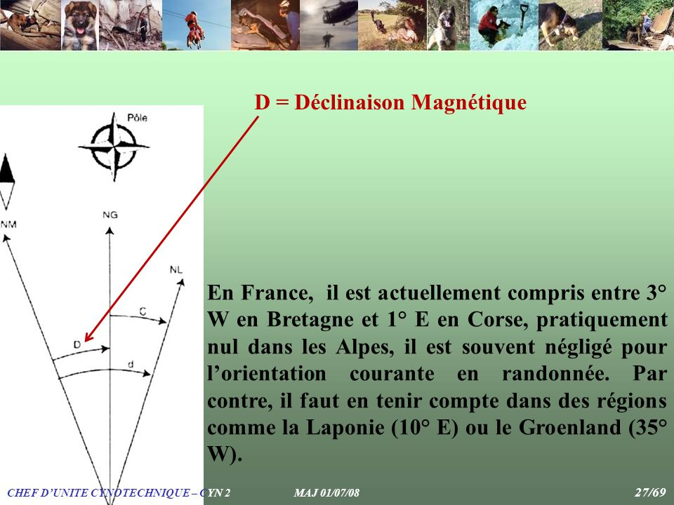 En France, il est actuellement compris entre 3° W en Bretagne et 1° E en Corse, pratiquement nul dans les Alpes, il est souvent négligé pour lorientat
