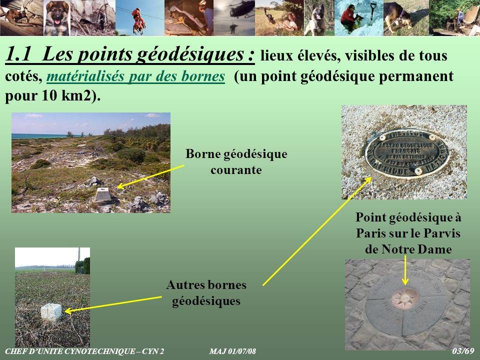 1.1 Les points géodésiques : lieux élevés, visibles de tous cotés, matérialisés par des bornes (un point géodésique permanent pour 10 km2). Point géod