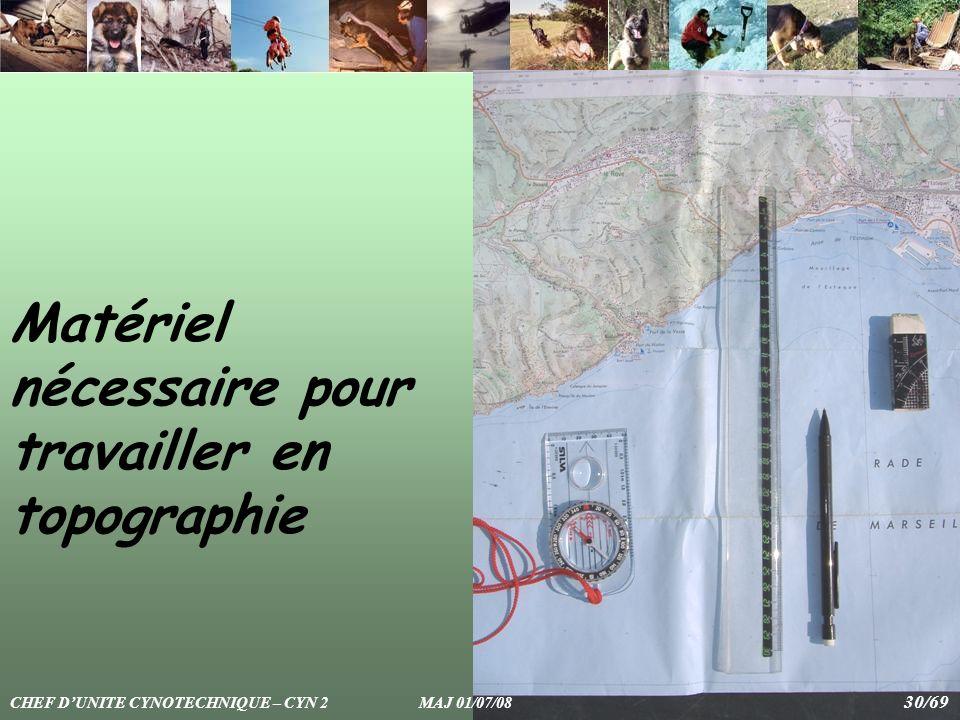 Matériel nécessaire pour travailler en topographie CHEF DUNITE CYNOTECHNIQUE – CYN 2 MAJ 01/07/08 30/69