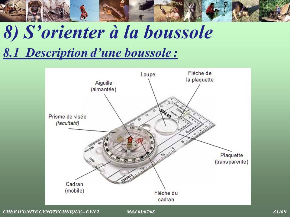 8) Sorienter à la boussole 8.1 Description dune boussole : CHEF DUNITE CYNOTECHNIQUE – CYN 2 MAJ 01/07/08 31/69