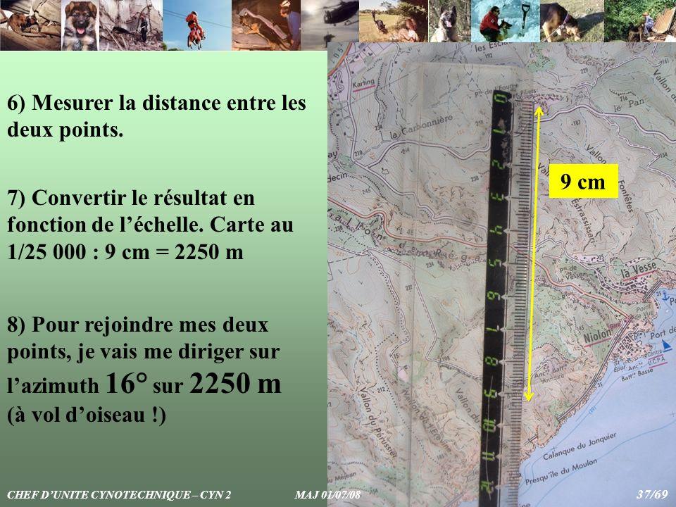6) Mesurer la distance entre les deux points. 9 cm 7) Convertir le résultat en fonction de léchelle. Carte au 1/25 000 : 9 cm = 2250 m 8) Pour rejoind