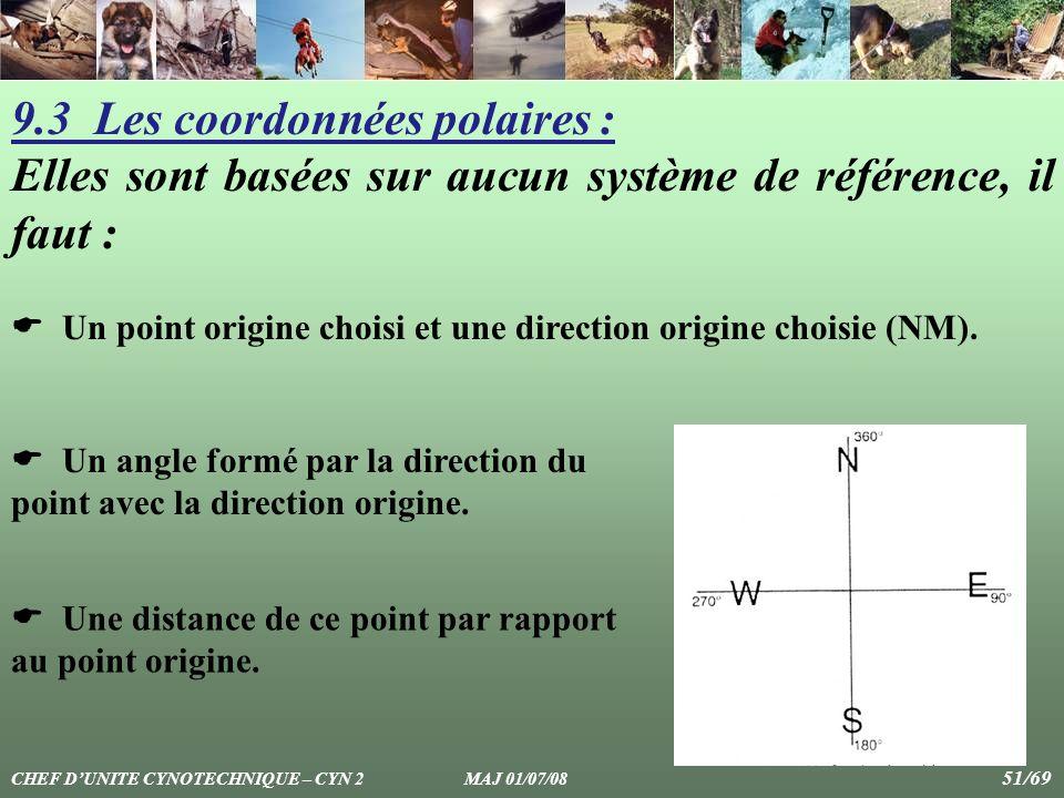9.3 Les coordonnées polaires : Elles sont basées sur aucun système de référence, il faut : Un point origine choisi et une direction origine choisie (N