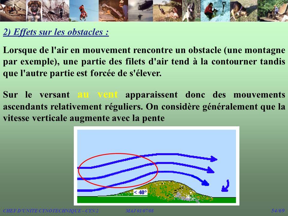 2) Effets sur les obstacles : Lorsque de l'air en mouvement rencontre un obstacle (une montagne par exemple), une partie des filets d'air tend à la co