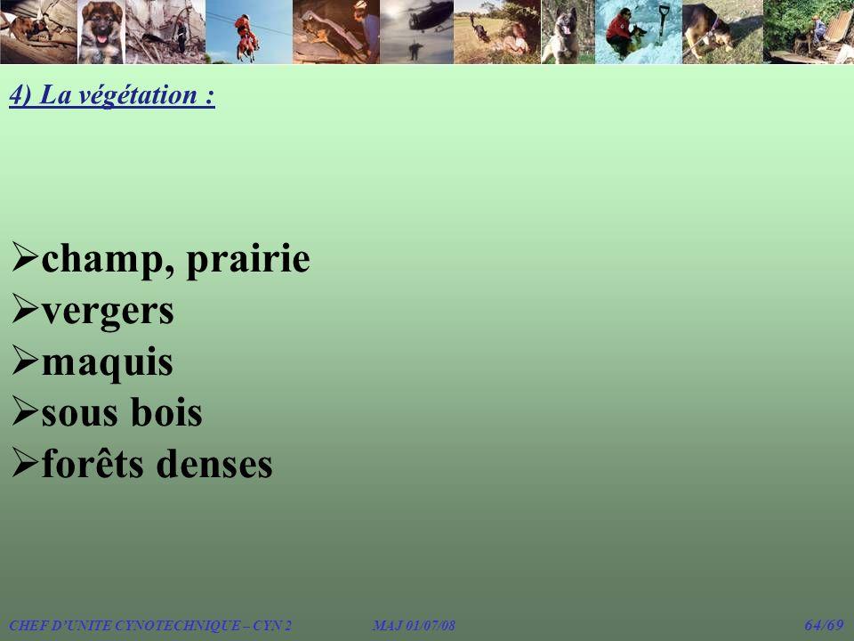 4) La végétation : champ, prairie vergers maquis sous bois forêts denses CHEF DUNITE CYNOTECHNIQUE – CYN 2 MAJ 01/07/08 64/69
