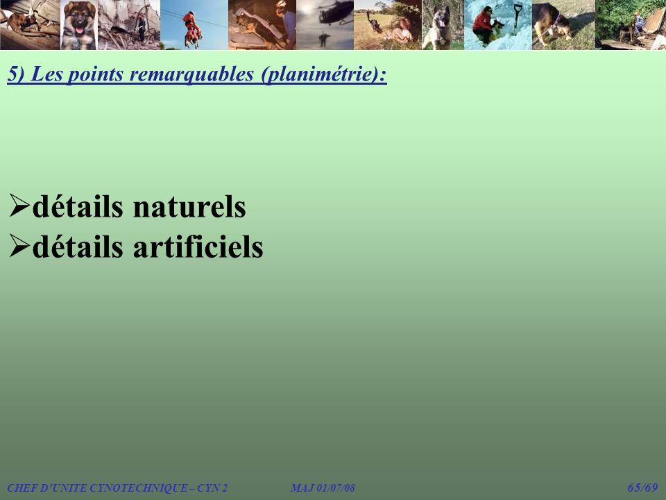 CHEF DUNITE CYNOTECHNIQUE – CYN 2 MAJ 01/07/08 65/69 5) Les points remarquables (planimétrie): détails naturels détails artificiels