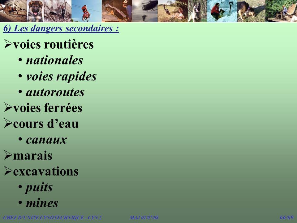 6) Les dangers secondaires : voies routières nationales voies rapides autoroutes voies ferrées cours deau canaux marais excavations puits mines CHEF D