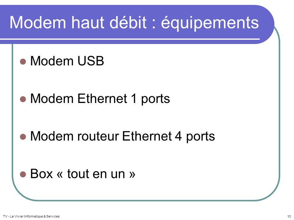 Modem haut débit : équipements Modem USB Modem Ethernet 1 ports Modem routeur Ethernet 4 ports Box « tout en un » TV - Le Vivier Informatique & Servic
