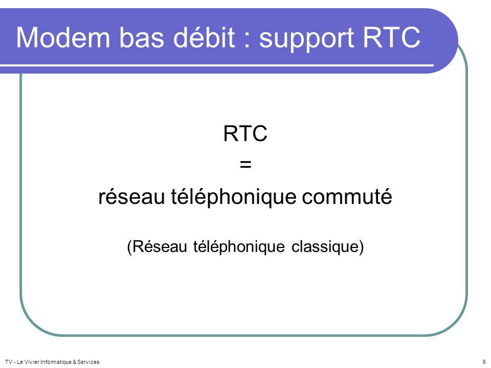 Modem bas débit : support RTC RTC = réseau téléphonique commuté (Réseau téléphonique classique) TV - Le Vivier Informatique & Services5