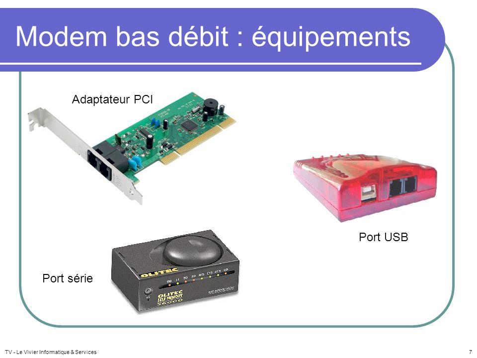 Modem bas débit : équipements TV - Le Vivier Informatique & Services7 Adaptateur PCI Port série Port USB