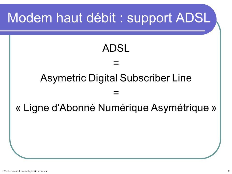 Modem haut débit : support ADSL ADSL = Asymetric Digital Subscriber Line = « Ligne d'Abonné Numérique Asymétrique » TV - Le Vivier Informatique & Serv