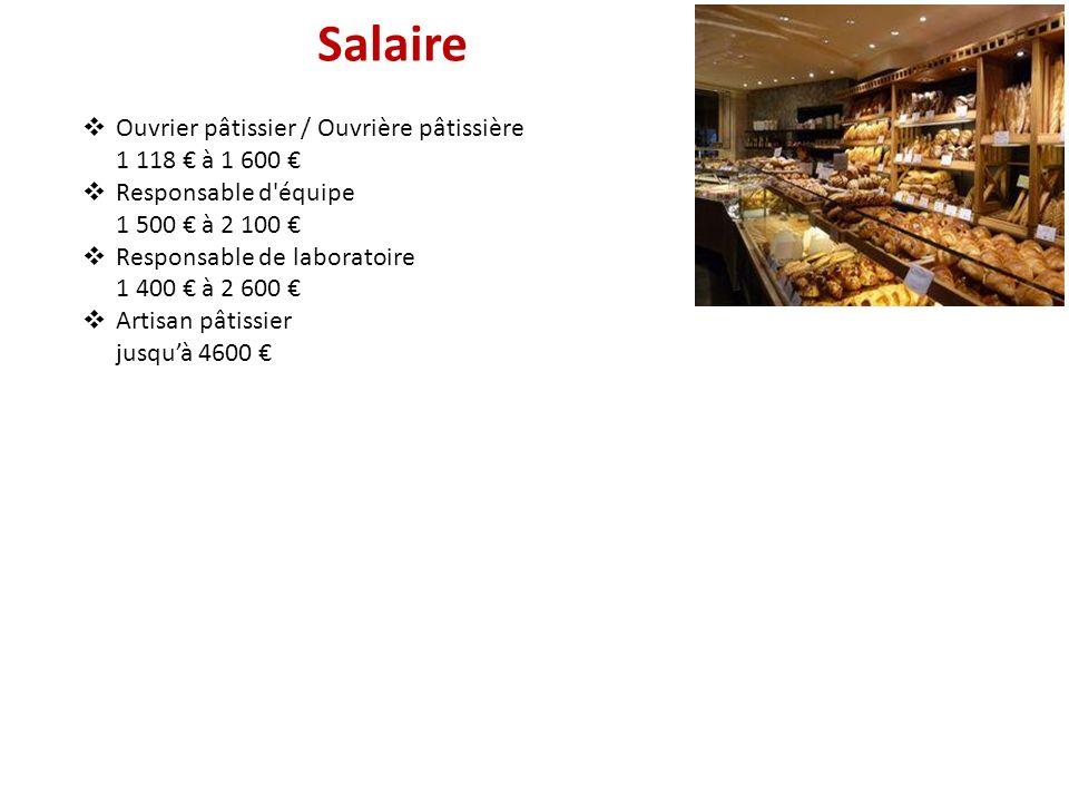 Salaire Ouvrier pâtissier / Ouvrière pâtissière 1 118 à 1 600 Responsable d'équipe 1 500 à 2 100 Responsable de laboratoire 1 400 à 2 600 Artisan pâti