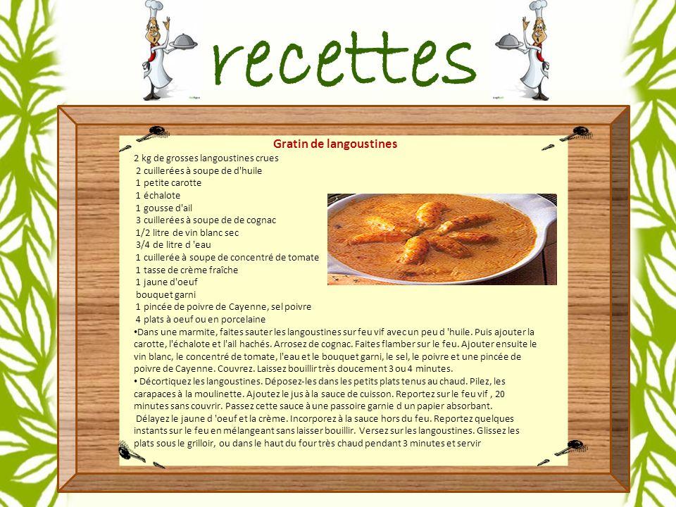 Gratin de langoustines 2 kg de grosses langoustines crues 2 cuillerées à soupe de d huile 1 petite carotte 1 échalote 1 gousse d ail 3 cuillerées à soupe de de cognac 1/2 litre de vin blanc sec 3/4 de litre d eau 1 cuillerée à soupe de concentré de tomate 1 tasse de crème fraîche 1 jaune d oeuf bouquet garni 1 pincée de poivre de Cayenne, sel poivre 4 plats à oeuf ou en porcelaine Dans une marmite, faites sauter les langoustines sur feu vif avec un peu d huile.