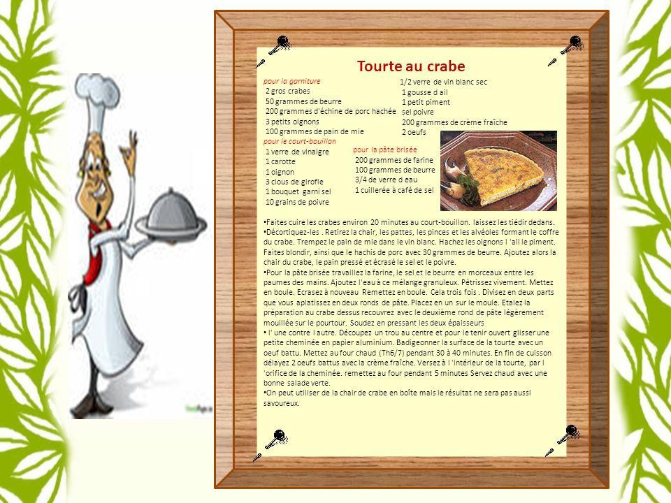 Tourte au crabe pour la garniture 2 gros crabes 50 grammes de beurre 200 grammes d échine de porc hachée 3 petits oignons 100 grammes de pain de mie pour le court-bouillon 1 verre de vinaigre 1 carotte 1 oignon 3 clous de girofle 1 bouquet garni sel 10 grains de poivre Faites cuire les crabes environ 20 minutes au court-bouillon.