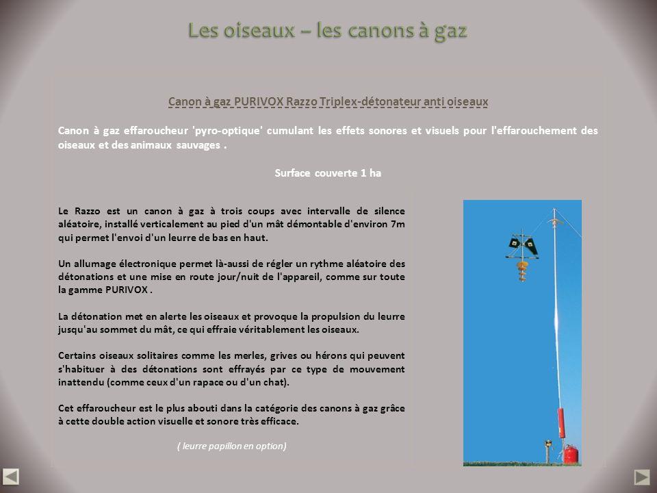 Canon à gaz PURIVOX Razzo Triplex-détonateur anti oiseaux Canon à gaz effaroucheur 'pyro-optique' cumulant les effets sonores et visuels pour l'effaro