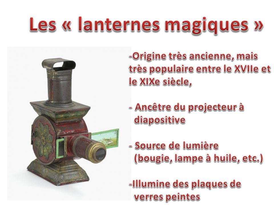 Fonctionnement et histoire des lanternes magiquesFonctionnement et histoire des lanternes magiques (Site Internet) Lentille Source de lumière Plaque de verre peinte