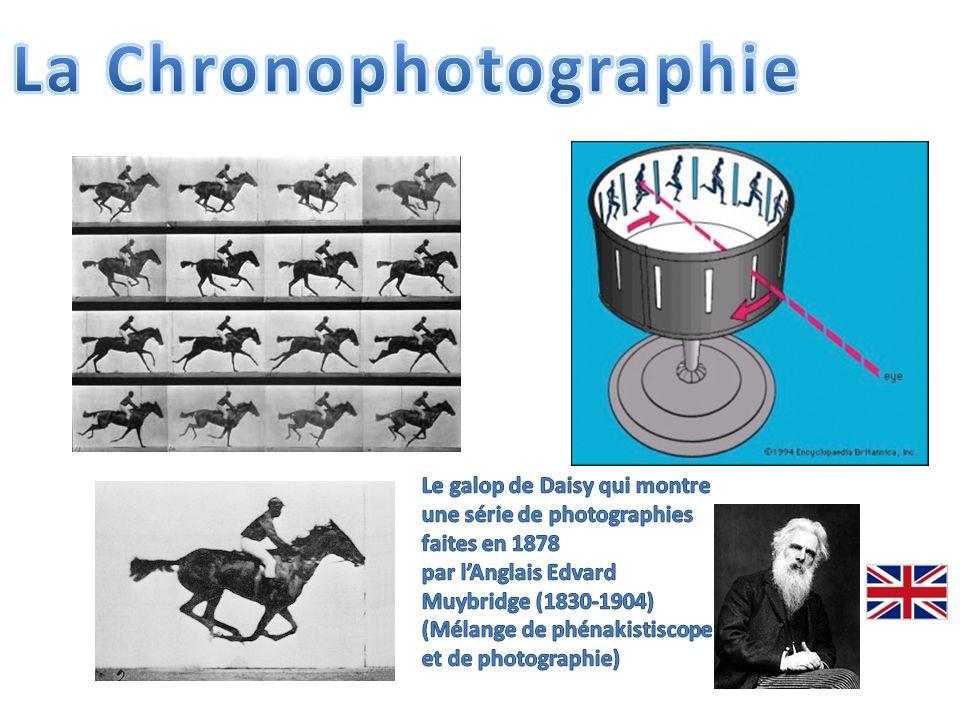 LAméricain Thomas Edison, inspiré par la chronophotographie, élabore le ruban long (inspiré du ruban du télégraphe quil a lui- même inventé).
