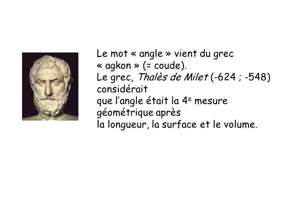 Le mot « angle » vient du grec « agkon » (= coude). Le grec, Thalès de Milet (-624 ; -548) considérait que langle était la 4 e mesure géométrique aprè