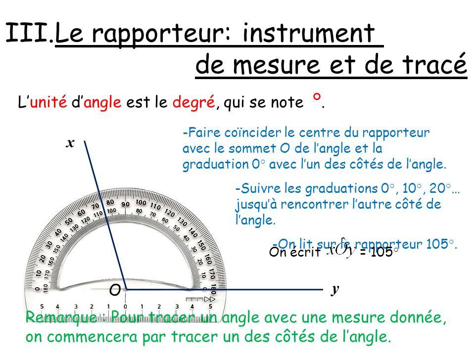 III.Le rapporteur: instrument de mesure et de tracé O y x Lunité dangle est le degré, qui se note °. -Faire coïncider le centre du rapporteur avec le
