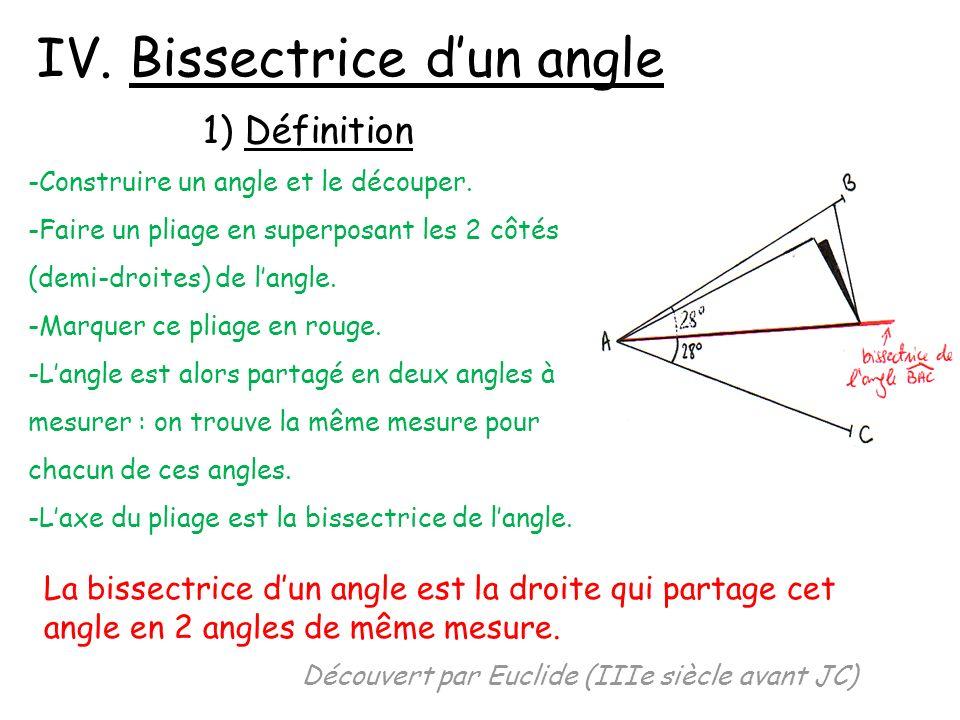 IV. Bissectrice dun angle 1) Définition -Construire un angle et le découper. -Faire un pliage en superposant les 2 côtés (demi-droites) de langle. -Ma