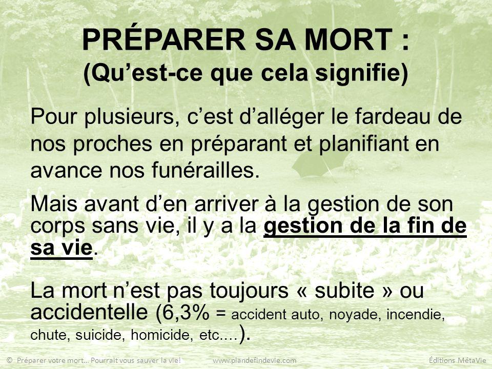 PRÉPARER SA MORT : (Quest-ce que cela signifie) Pour plusieurs, cest dalléger le fardeau de nos proches en préparant et planifiant en avance nos funér