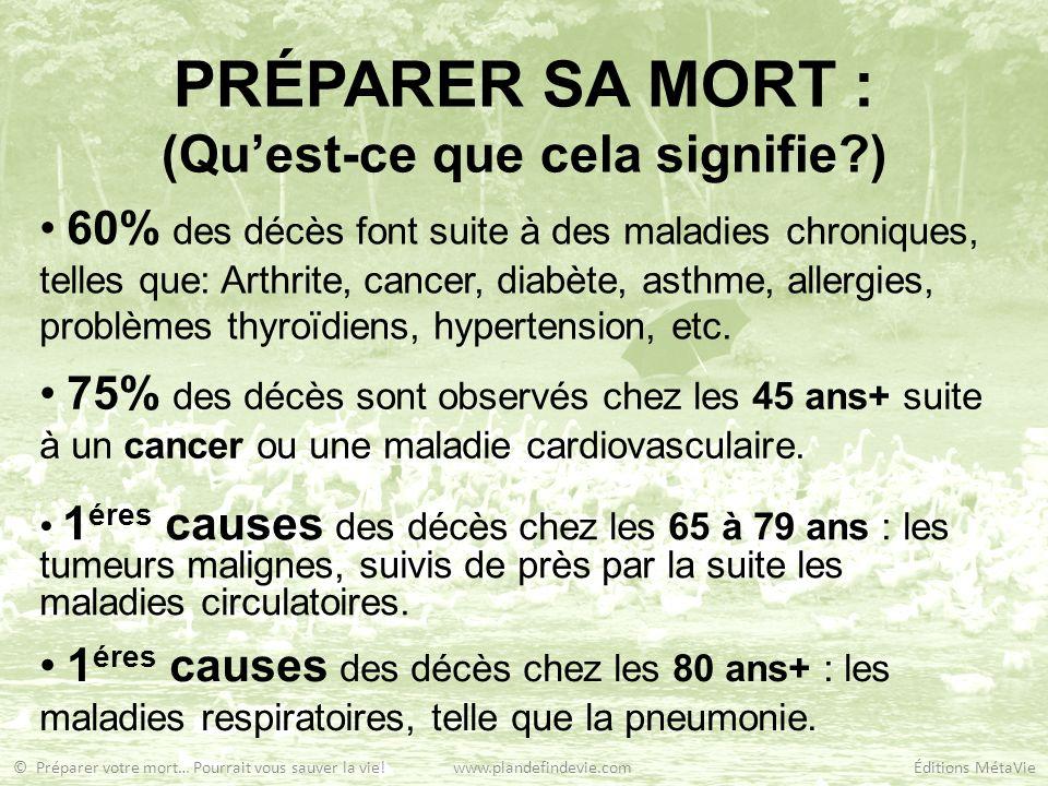 PRÉPARER SA MORT : (Quest-ce que cela signifie?) 60% des décès font suite à des maladies chroniques, telles que: Arthrite, cancer, diabète, asthme, al