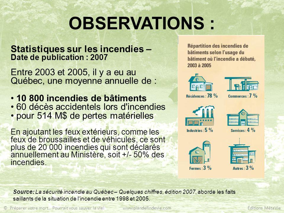 OBSERVATIONS : Statistiques sur les incendies – Date de publication : 2007 Entre 2003 et 2005, il y a eu au Québec, une moyenne annuelle de : 10 800 i