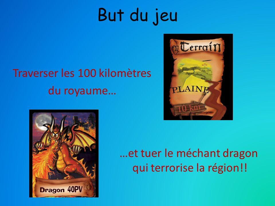 But du jeu Traverser les 100 kilomètres du royaume… …et tuer le méchant dragon qui terrorise la région!!