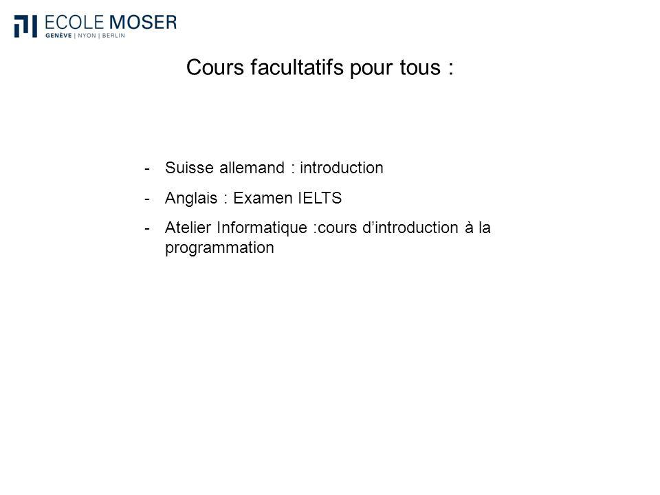Cours facultatifs pour tous : -Suisse allemand : introduction -Anglais : Examen IELTS -Atelier Informatique :cours dintroduction à la programmation
