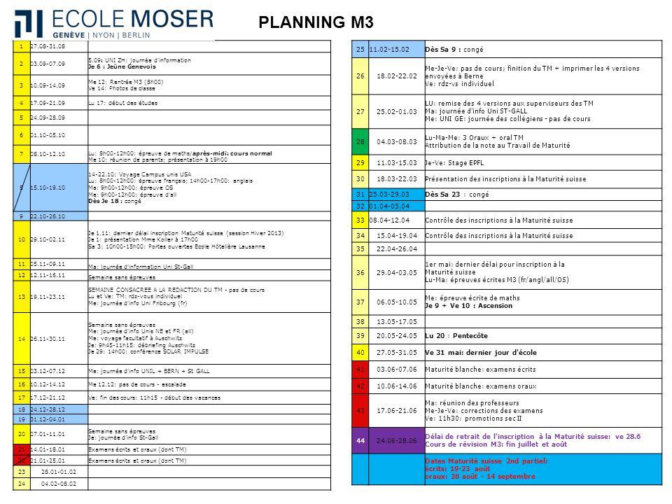 PLANNING M3 127.08-31.08 203.09-07.09 5.09: UNI ZH: journée d'information Je 6 : Jeûne Genevois 310.09-14.09 Me 12: Rentrée M3 (8h00) Ve 14: Photos de