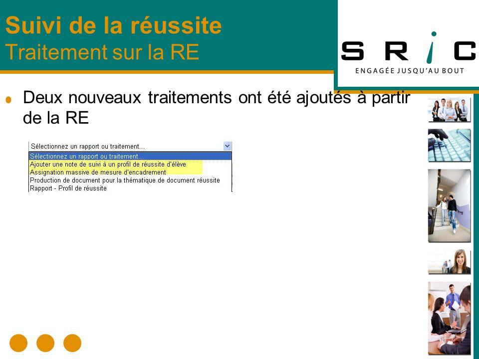 Deux nouveaux traitements ont été ajoutés à partir de la RE Suivi de la réussite Traitement sur la RE