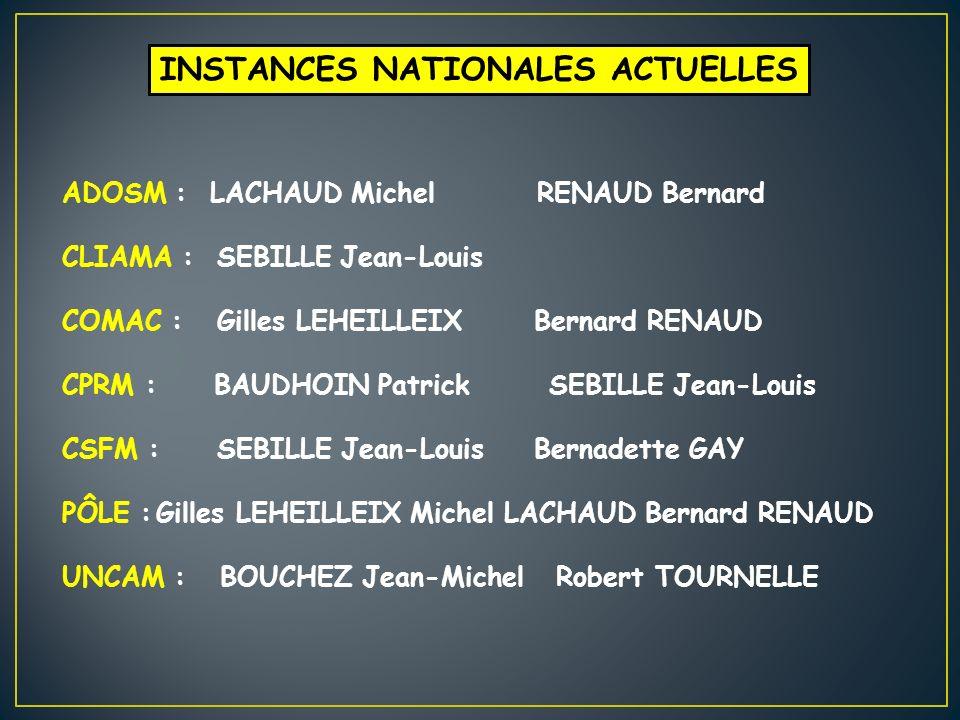 INSTANCES NATIONALES ACTUELLES ADOSM : LACHAUD Michel RENAUD Bernard CLIAMA : SEBILLE Jean-Louis COMAC : Gilles LEHEILLEIXBernard RENAUD CPRM : BAUDHO
