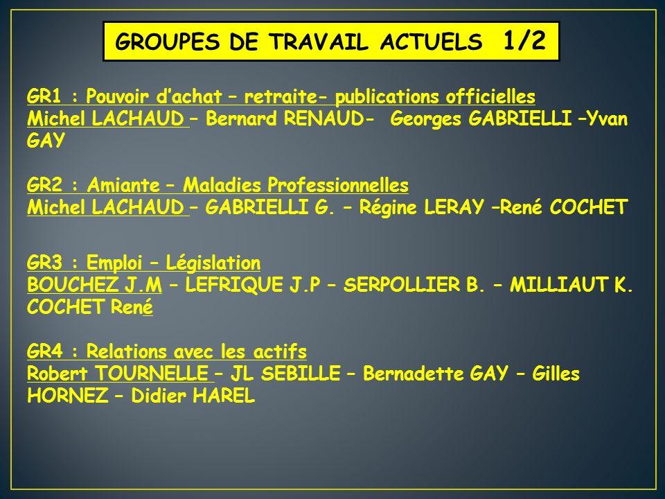 GROUPES DE TRAVAIL ACTUELS 1/2 GR1 : Pouvoir dachat – retraite- publications officielles Michel LACHAUD – Bernard RENAUD- Georges GABRIELLI –Yvan GAY