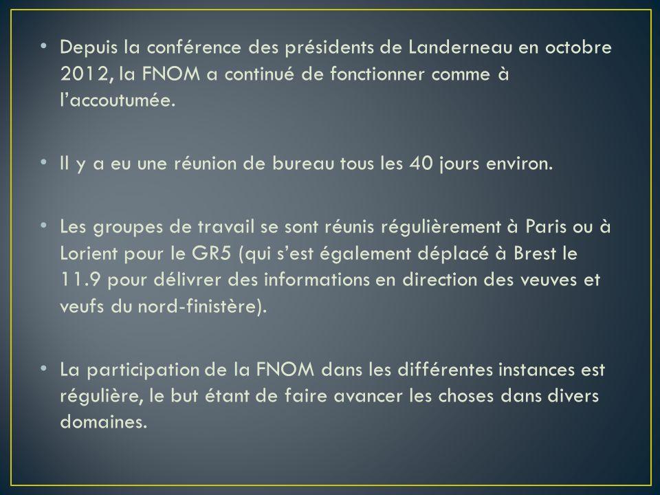 Depuis la conférence des présidents de Landerneau en octobre 2012, la FNOM a continué de fonctionner comme à laccoutumée. Il y a eu une réunion de bur