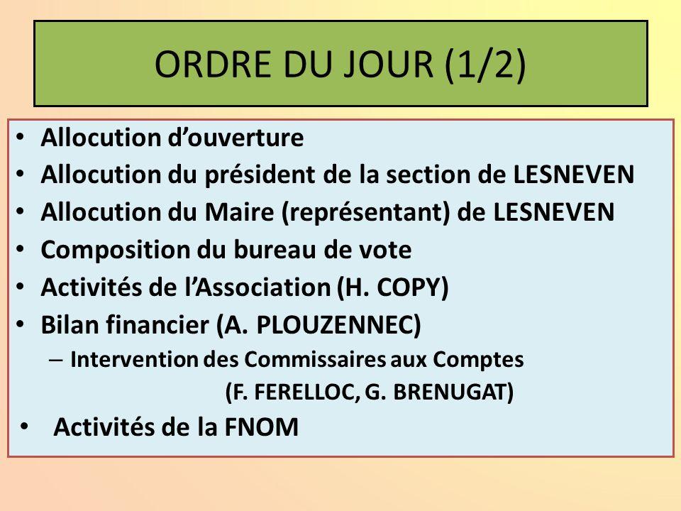 ORDRE DU JOUR (1/2) Allocution douverture Allocution du président de la section de LESNEVEN Allocution du Maire (représentant) de LESNEVEN Composition