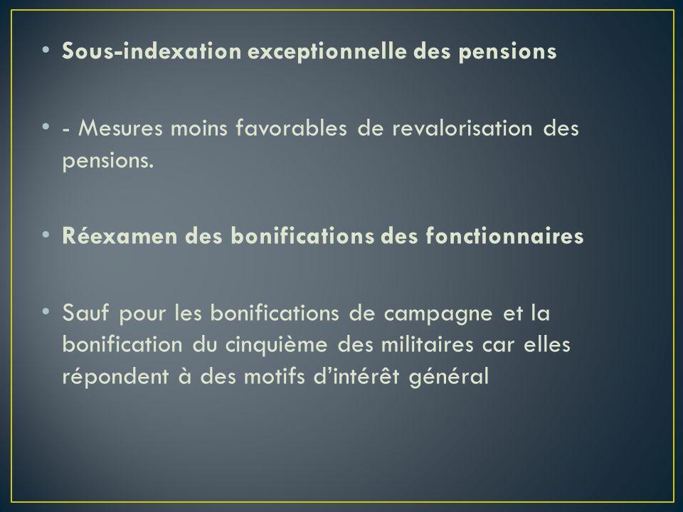 Sous-indexation exceptionnelle des pensions - Mesures moins favorables de revalorisation des pensions. Réexamen des bonifications des fonctionnaires S