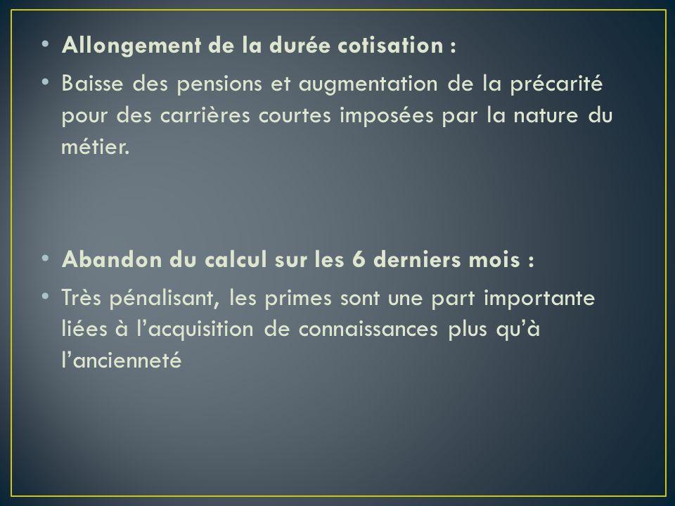 Allongement de la durée cotisation : Baisse des pensions et augmentation de la précarité pour des carrières courtes imposées par la nature du métier.