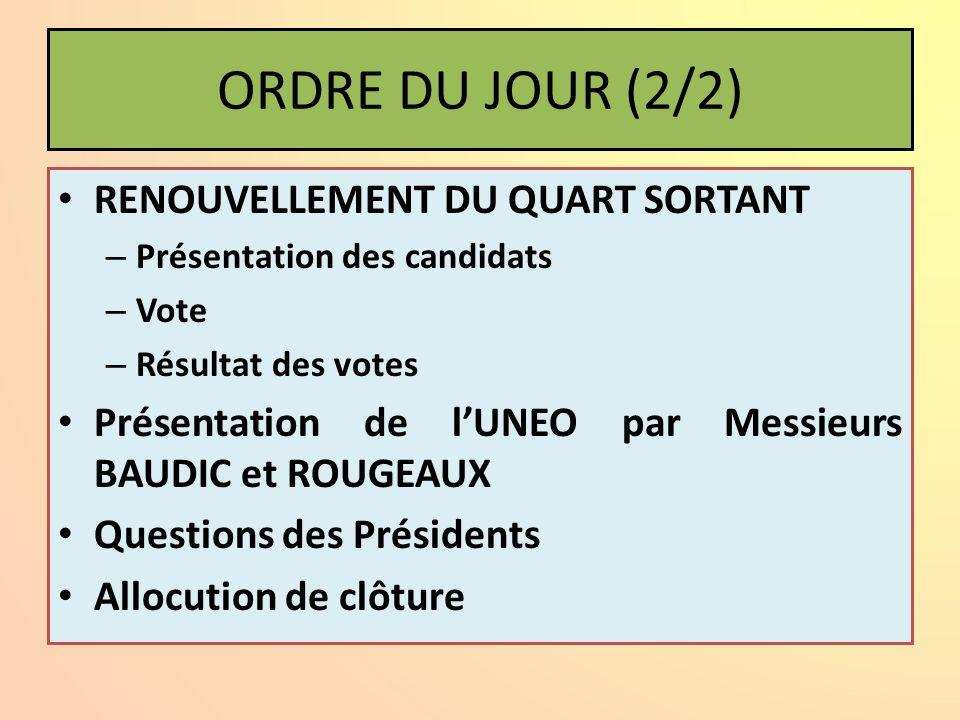 ORDRE DU JOUR (2/2) RENOUVELLEMENT DU QUART SORTANT – Présentation des candidats – Vote – Résultat des votes Présentation de lUNEO par Messieurs BAUDI