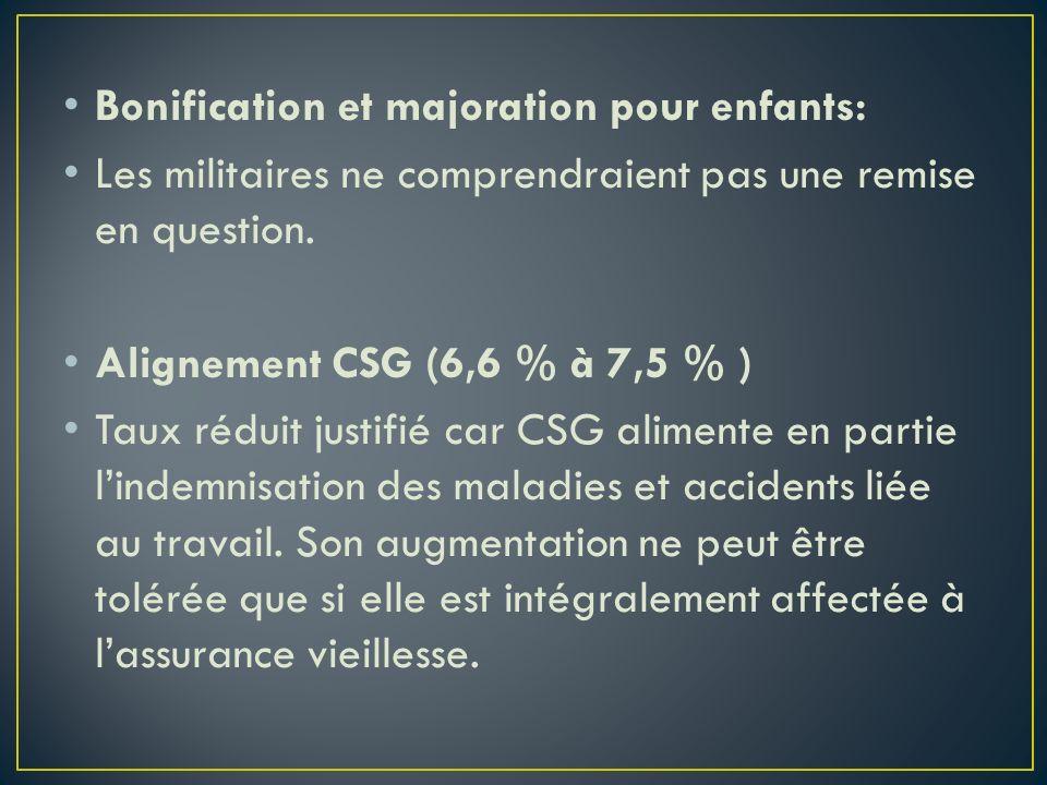 Bonification et majoration pour enfants: Les militaires ne comprendraient pas une remise en question. Alignement CSG (6,6 % à 7,5 % ) Taux réduit just