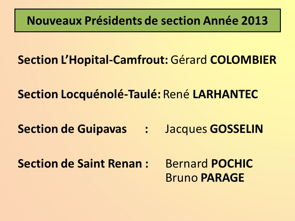 Nouveaux Présidents de section Année 2013 Section LHopital-Camfrout: Gérard COLOMBIER Section Locquénolé-Taulé: René LARHANTEC Section de Guipavas :Ja