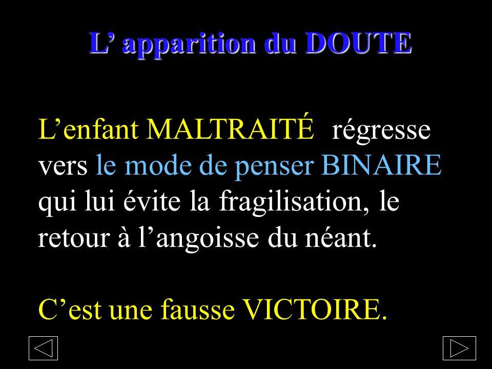 L apparition du DOUTE Lenfant MALTRAITÉ régresse vers le mode de penser BINAIRE qui lui évite la fragilisation, le retour à langoisse du néant.