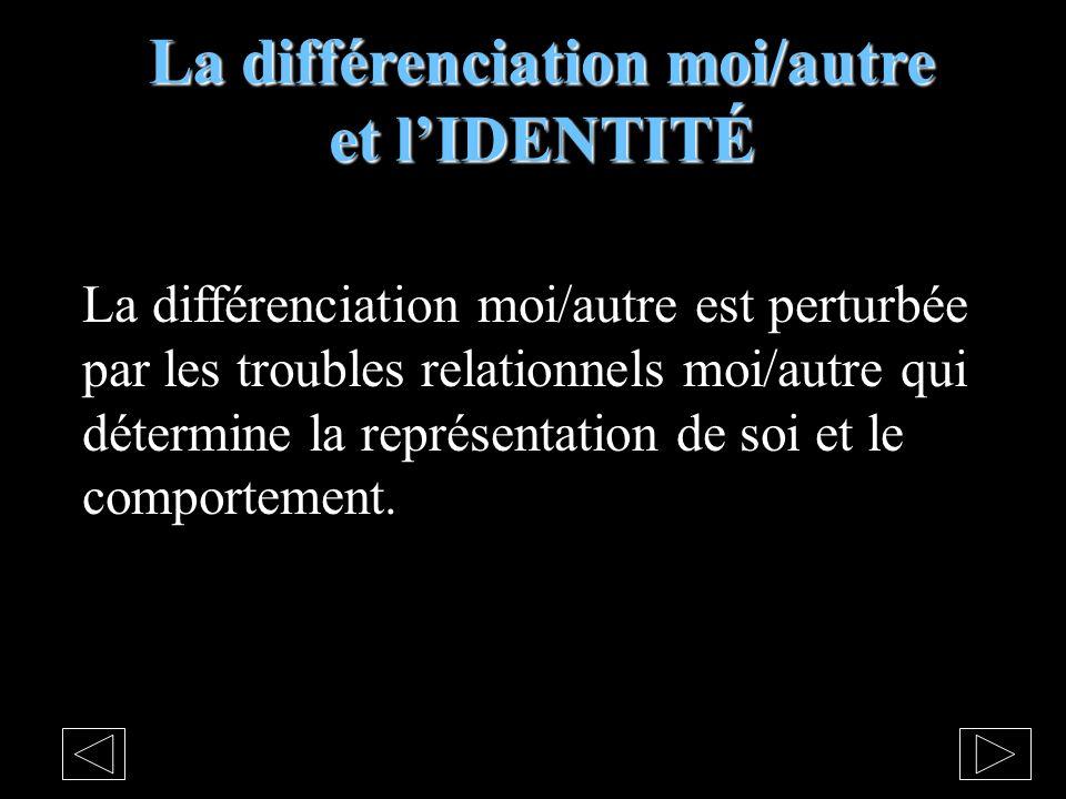 La différenciation moi/autre et lIDENTITÉ La différenciation moi/autre est perturbée par les troubles relationnels moi/autre qui détermine la représentation de soi et le comportement.