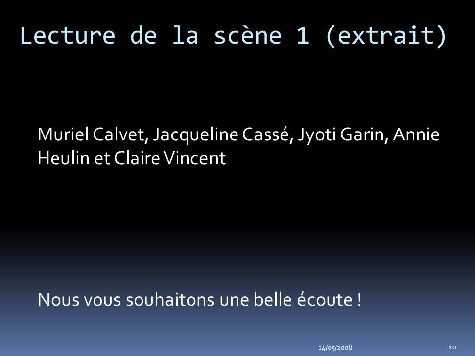 Lecture de la scène 1 (extrait) Muriel Calvet, Jacqueline Cassé, Jyoti Garin, Annie Heulin et Claire Vincent Nous vous souhaitons une belle écoute .