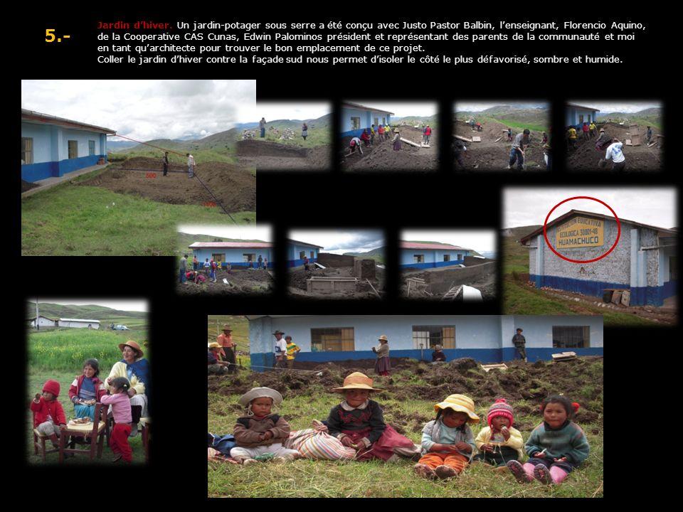 5.- Jardin dhiver. Un jardin-potager sous serre a été conçu avec Justo Pastor Balbin, lenseignant, Florencio Aquino, de la Cooperative CAS Cunas, Edwi